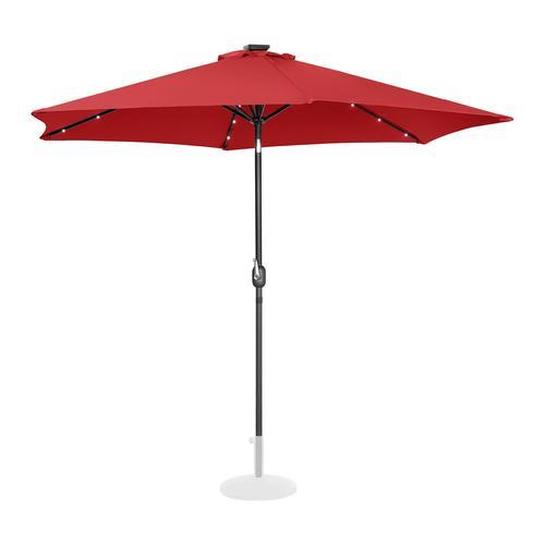 Uniprodo Sonnenschirm mit LED - rot - rund - Ø 300 cm - neigbar