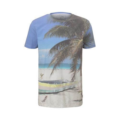 TOM TAILOR DENIM Herren T-Shirt mit Strand-Print, blau, Gr.S