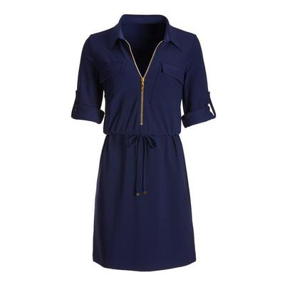 Boston Proper - Beyond Travel Zip-Up Dress - Maritime Navy - Xx Small