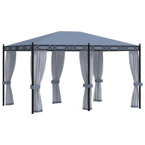 vidaXL Pavillon mit Mückennetze 3x4 m Anthrazit Stahl