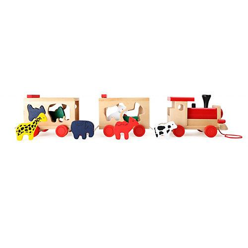 Steckspiel Holzeisenbahn mit Tieren bunt