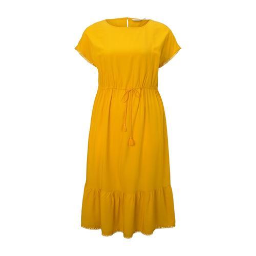 TOM TAILOR MY TRUE ME Damen Curvy - Sommerliches Kleid mit Häkel-Details, gelb, Gr.50