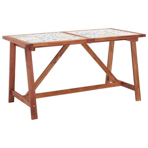vidaXL Garten-Esstisch 140×70×75 cm Fliesenplatte Akazie Massivholz