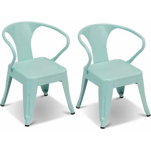 2er-Set Kinderstuehle, Stahlstuhl mit Rueckenlehne, Stuhl fuer Kinder, blau - Costway