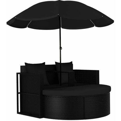 Gartenbett mit Sonnenschirm Poly Rattan Schwarz