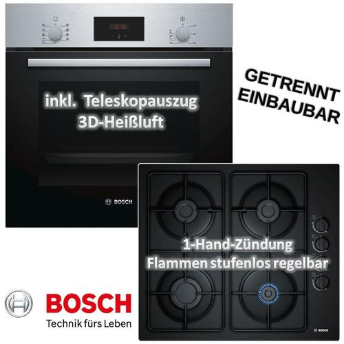 Bosch Backofen HBF114BSO mit Gas-Kochfeld POP6B6B10 - autark, 60cm