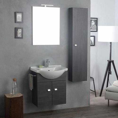 Mobiler Waschtisch Mit Spiegel Und Led-Licht + Dunkeleichensäule