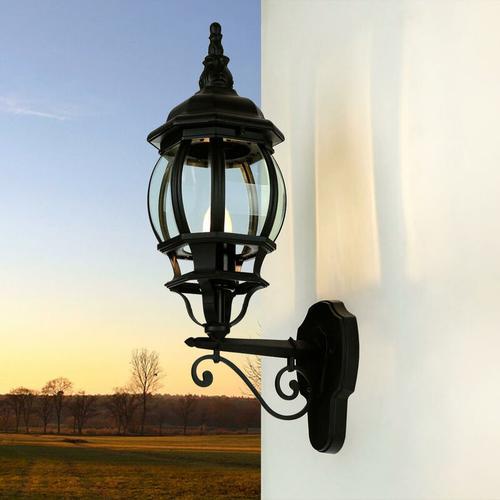 Rustikale Außenwandlampe BREST schwarz Wetterfest