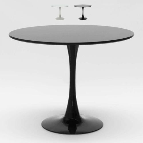 Rund Tisch 80x80 cm Inneneinrichtung Kaffee Bistro Lokale Weiß Schwarz Tulip | Schwarz