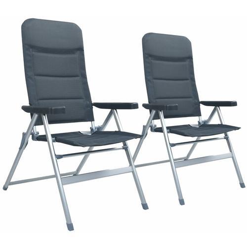 Garten-Liegestühle 2 Stk. Aluminium Grau - Vidaxl