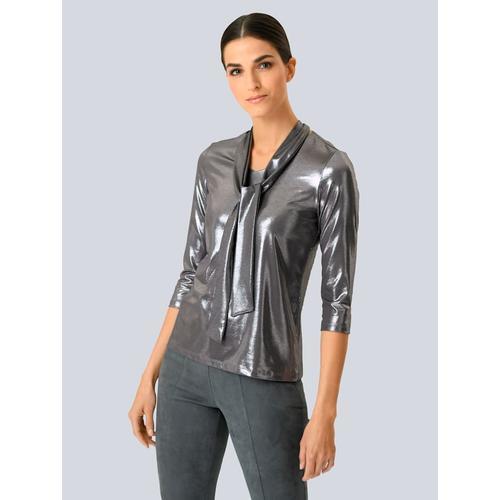 Alba Moda, Shirt in beschichteter Qualität, silber