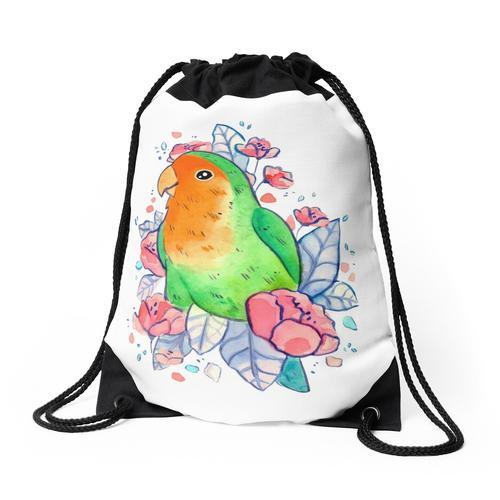 Blumiger Lovebird Rucksackbeutel