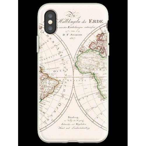 Die beyden Halbkugeln der Erde = Die beiden Erdhalbkugeln (1807) von Sc Flexible Hülle für iPhone XS