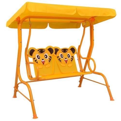 vidaXL Kinder-Hollywoodschaukel Gelb 115 x 75 x 110 cm Stoff