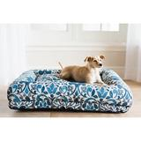 La-Z-Boy Rosie Lounger Bolster Dog Bed w/Removable Cover, Blue Jacquard