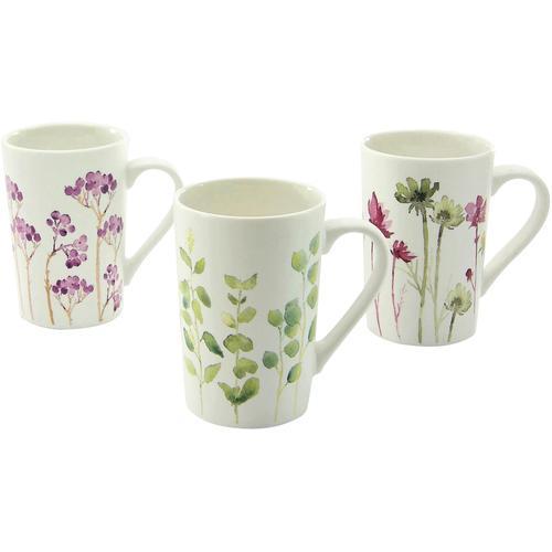 CreaTable Becher Botanica, (Set, 6 tlg.), Blumenmotive bunt Tassen Geschirr, Porzellan Tischaccessoires Haushaltswaren