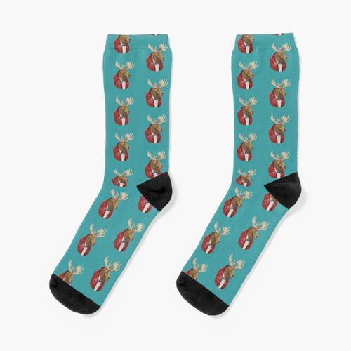 Elch in Leder Socken