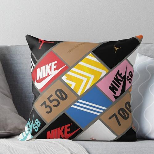 sneakers wallpaper box Throw Pillow