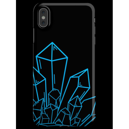 Blauer Kristallblock Auf Schwarzem iPhone XS Max Handyhülle