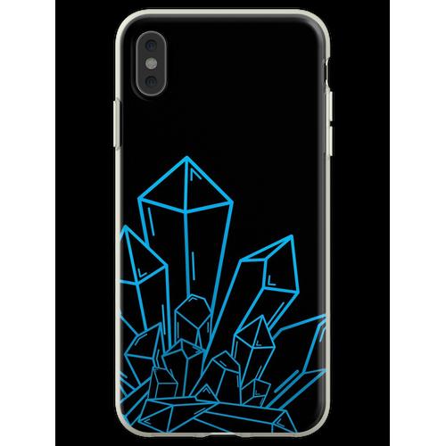 Blauer Kristallblock Auf Schwarzem Flexible Hülle für iPhone XS Max