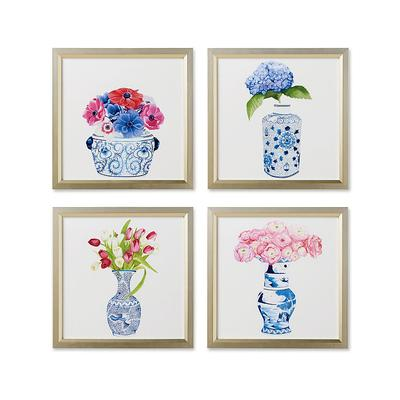 Set of 4 Watercolor Blue Ming with Florals Giclee Prints - Frontgate
