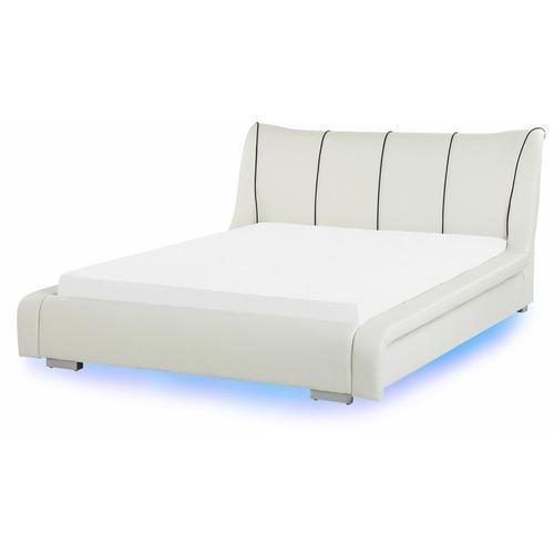 Wasserbett Weiß Leder 140 x 200 cm LED-Beleuchtung Schlafzimmer