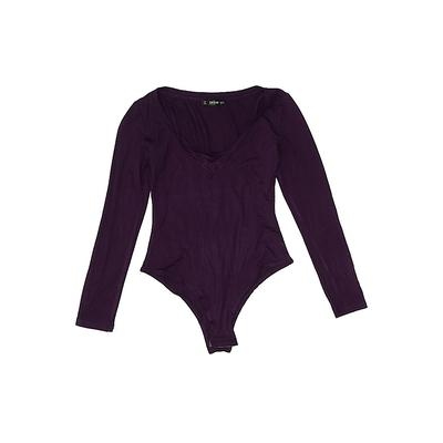 Shein Bodysuit: Purple Solid Top...
