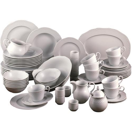 CreaTable Kombiservice Arianne, (Set, 61 tlg.) weiß Geschirr-Sets Geschirr, Porzellan Tischaccessoires Haushaltswaren