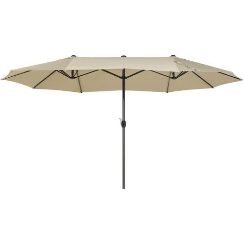 Beliani - Sonnenschirm Beige 270 x 460 x 247 cm aus robustem Aluminium und einem doppelten Schirm