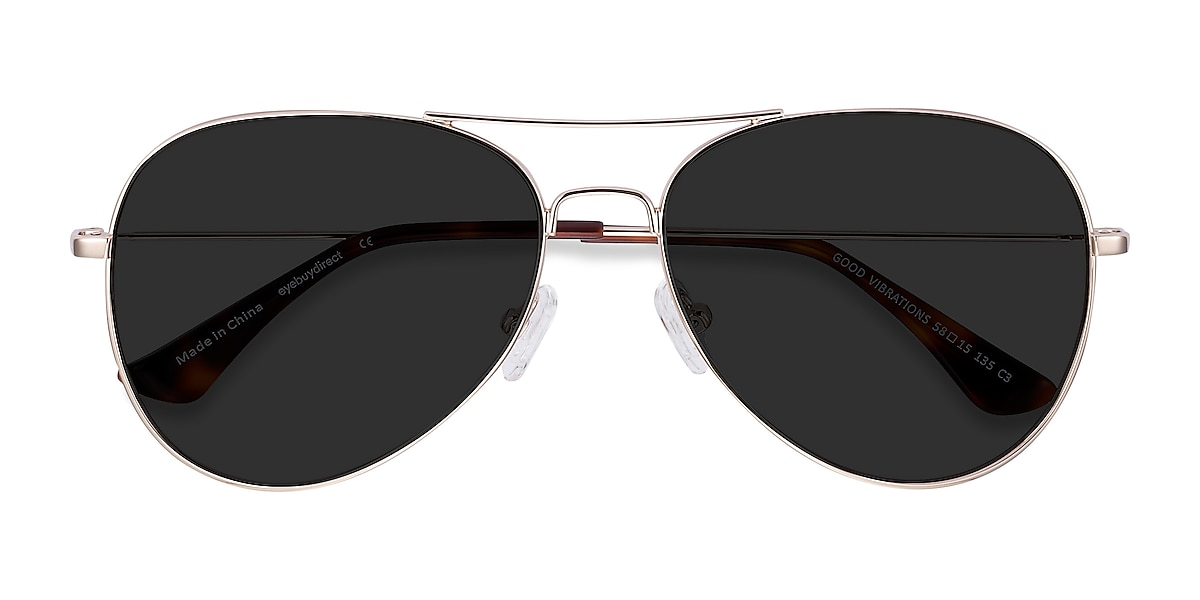 Unisex Aviator Gold Metal Prescription sunglasses - EyeBuydirect's Good Vibrations