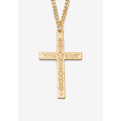 """Men's Big & Tall Gold Filled Lord's Prayer Cross Pendant with 24"""" Chain by PalmBeach Jewelry in Gold"""