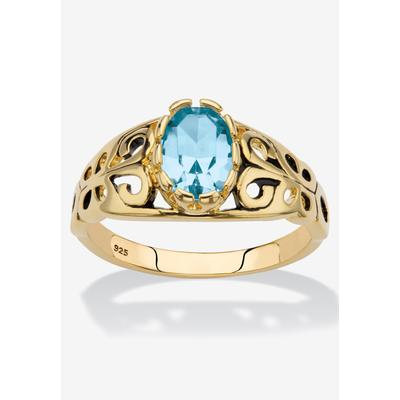 Gold over Sterling Silver Open Scrollwork Simulated Birthstone Ring by PalmBeach Jewelry in December (Size 7)