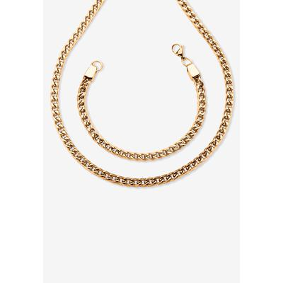 """Men's Big & Tall Gold Ion-Plated Stainless Steel Curb-Link 24"""" Chain and 9"""" Bracelet Set by PalmBeach Jewelry in Stainless Steel"""