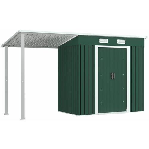 Gerätehaus mit Vordach Grün 346×121×181 cm Stahl