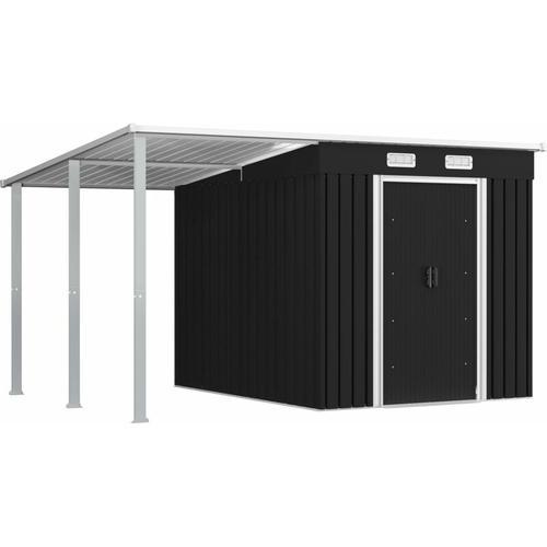 Gerätehaus mit Vordach Anthrazit 346×236×181 cm Stahl