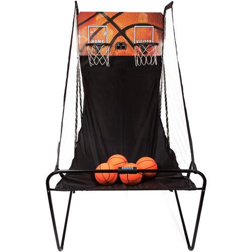 SportPlus Basketballkorb SP-BS-100, (inkl. 4 kleiner Basketbälle & Mini-Luftpumpe, exkl. Batterien) schwarz Basketball Ausrüstung Sportarten