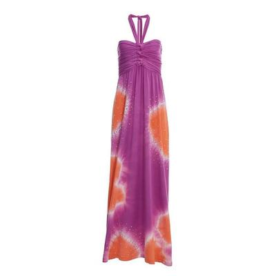 Boston Proper - Embellished Tie-Dye Halter Maxi Dress - Multi - Xx Small