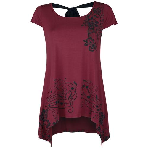 Full Volume by EMP T-Shirt mit Blumen und Notenprint Damen-T-Shirt - bordeaux