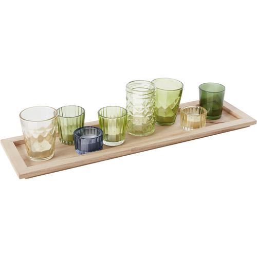 INOSIGN Kerzentablett, mit 8 bunten Teelichthaltern aus Glas grün Kerzenhalter Kerzen Laternen Wohnaccessoires Kerzentablett