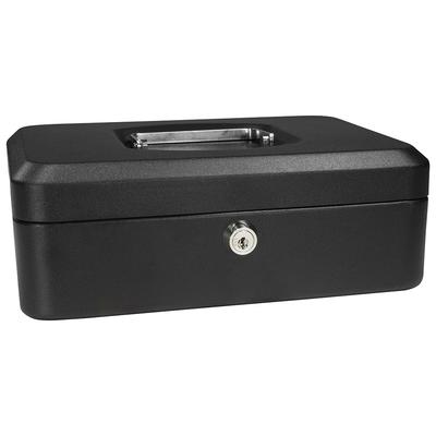 Barska CB11830 Cash Box w/ Key Lock - (3) Compartment Tray, Steel, Black