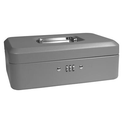 Barska CB11786 Cash Box w/ Combination Lock - (3) Compartment Tray, Steel, Gray