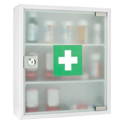Barska CB12822 Medical Cabinet w/ Key Lock - Glass Door, Steel, White