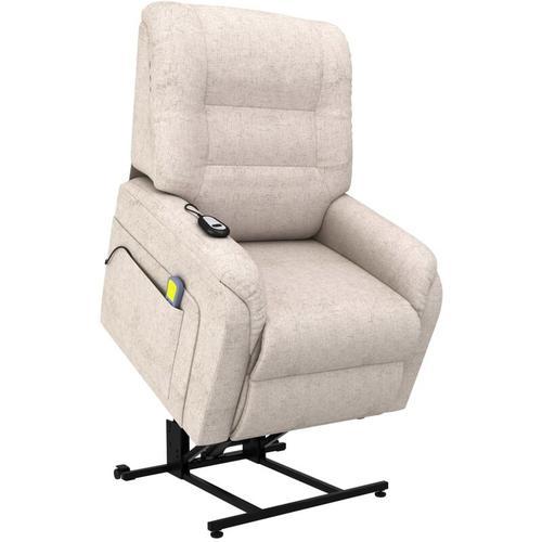 Massage-TV-Sessel mit Aufstehhilfe Elektrisch Stoff Creme
