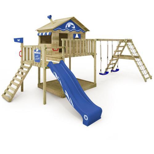 Spielturm Klettergerüst Smart Ocean mit Schaukel & blauer Rutsche, Stelzenhaus mit Sandkasten,