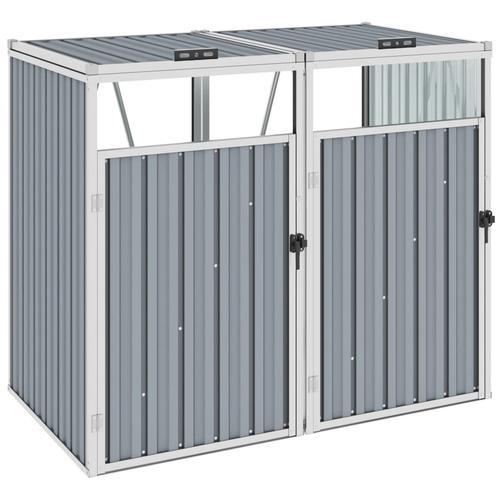 vidaXL Mülltonnenbox für 2 Mülltonnen Grau 143×81×121 cm Stahl