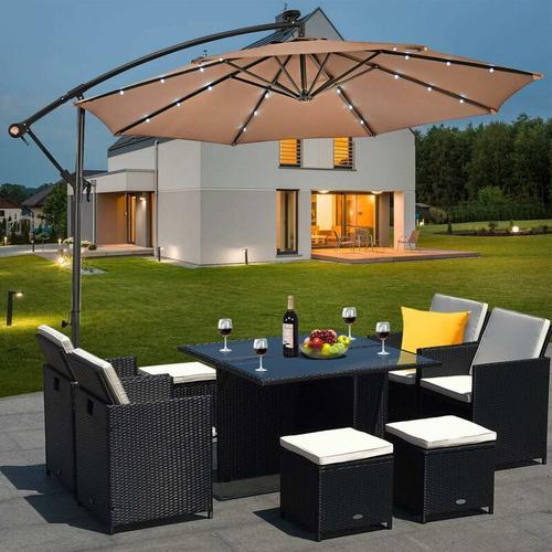 ?300cm LED Ampelschirm Sonnenschirm, Gartenschirm mit Solarlichtern, Terrassenschirm neigbar,