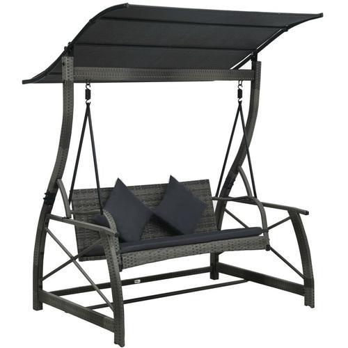 Vidaxl - Hollywoodschaukel 3-Sitzer mit Dach Poly Rattan Grau