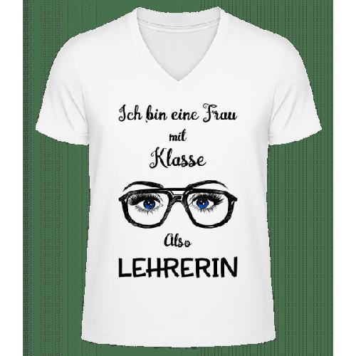 Frau Mit Klasse Lehrerin - Männer Bio T-Shirt V-Ausschnitt