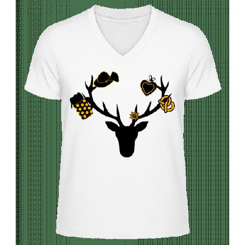 Bayerischer Hirsch - Männer Bio T-Shirt V-Ausschnitt