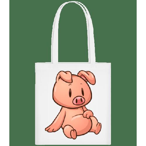 Schweinchen Sitzend Comic - Stoffbeutel
